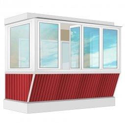 Остекление балкона ПВХ Rehau с выносом и отделкой ПВХ-панелями без утепления 3.2 м П-образное