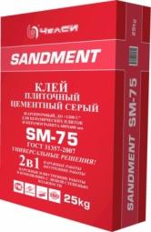 Клей ЧелСи плиточный цементный серый жаростойкий SANDMENT SM-75 25кг