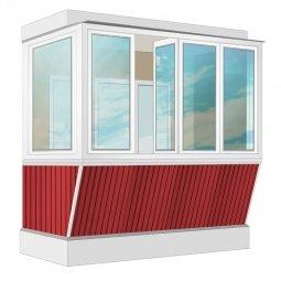Остекление балкона ПВХ Exprof с выносом и отделкой ПВХ-панелями с утеплением 2.4 м Г-образное
