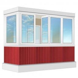 Остекление балкона ПВХ Veka с отделкой вагонкой без утепления 3.2 м П-образное