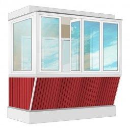 Остекление балкона ПВХ Exprof с выносом и отделкой ПВХ-панелями без утепления 2.4 м П-образное