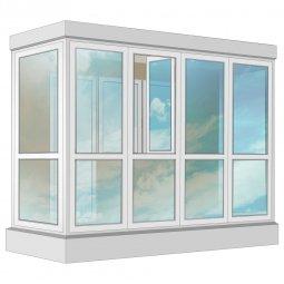 Остекление балкона ПВХ Exprof в пол с отделкой вагонкой с утеплением 3.2 м П-образное