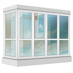 Остекление балкона ПВХ Exprof в пол с отделкой ПВХ-панелями с утеплением 3.2 м Г-образное