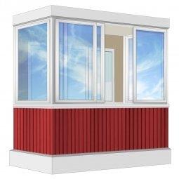 Остекление балкона Алюминиевое Provedal с отделкой ПВХ-панелями без утепления 2.4 м П-образное